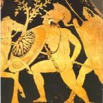Antike griechische Hopliten Krieger nackt in der Schlacht Infektion von schmutzigen Kleidung in Wunden zu vermeiden