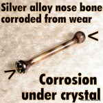 Corroded silver alloy nose bone
