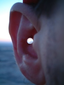 Daybreak through modern glass ear jewelry